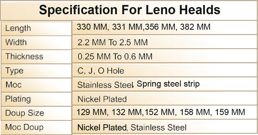 Specification for Leno Healds